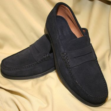 Mens Navy Suede Loafers